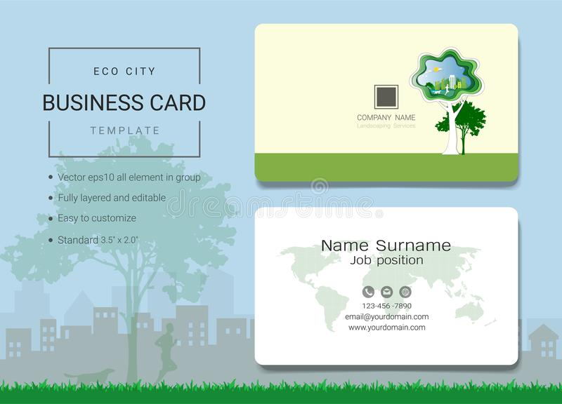 Cartão da cidade de Eco ou molde do cartão de nome ilustração royalty free