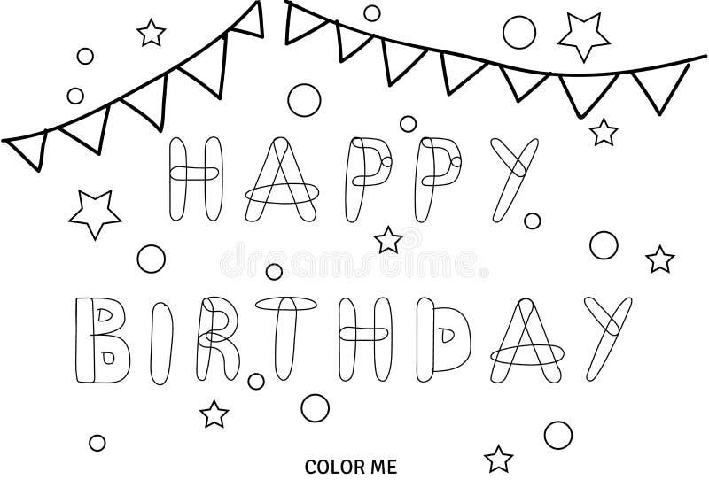 Cartão da coloração do feliz aniversario do vetor ilustração royalty free