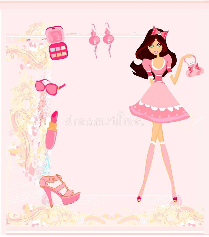 Download Cartão Da Compra Da Menina Da Fôrma Ilustração do Vetor - Ilustração de cliente, senhora: 29833542