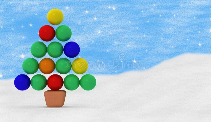 Cartão da cor do Feliz Natal ilustração royalty free