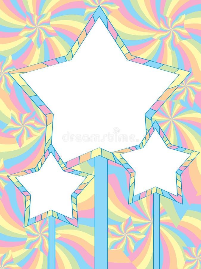 Cartão da cor pastel da estrela ilustração stock