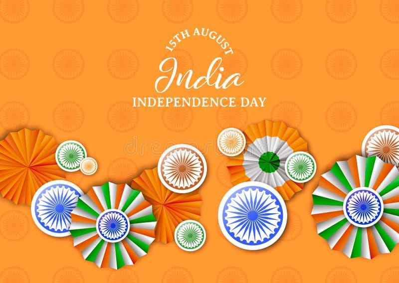 Cartão da decoração do crachá do Dia da Independência da Índia ilustração royalty free