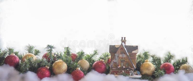 Cartão da decoração do Natal e ano novo foto de stock