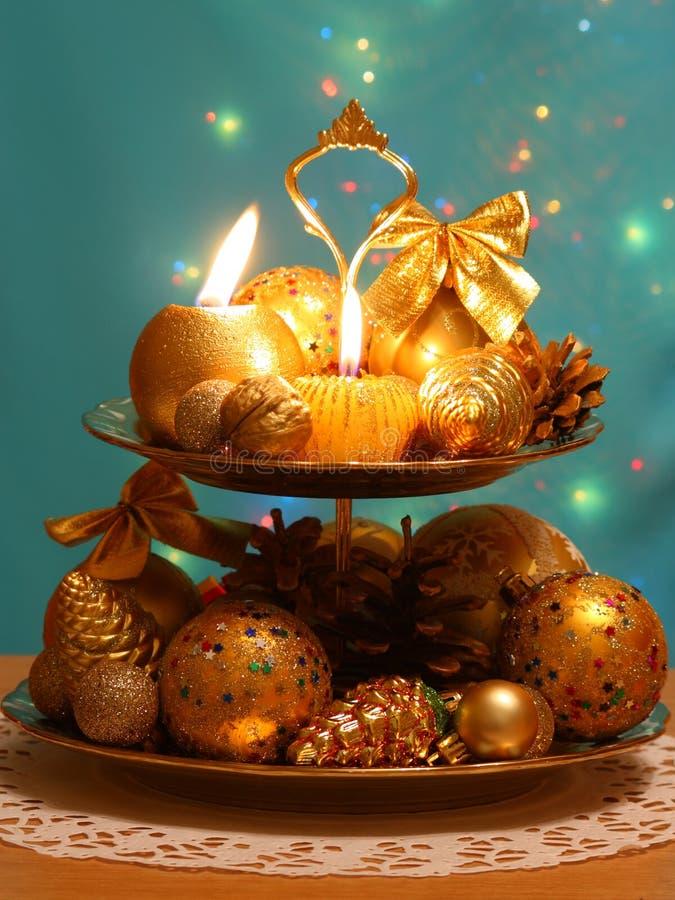 Cartão da decoração do Natal - foto conservada em estoque imagens de stock