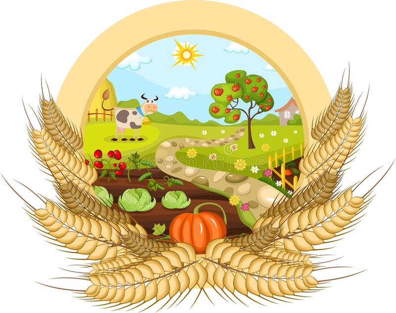 Cartão da exploração agrícola ilustração stock
