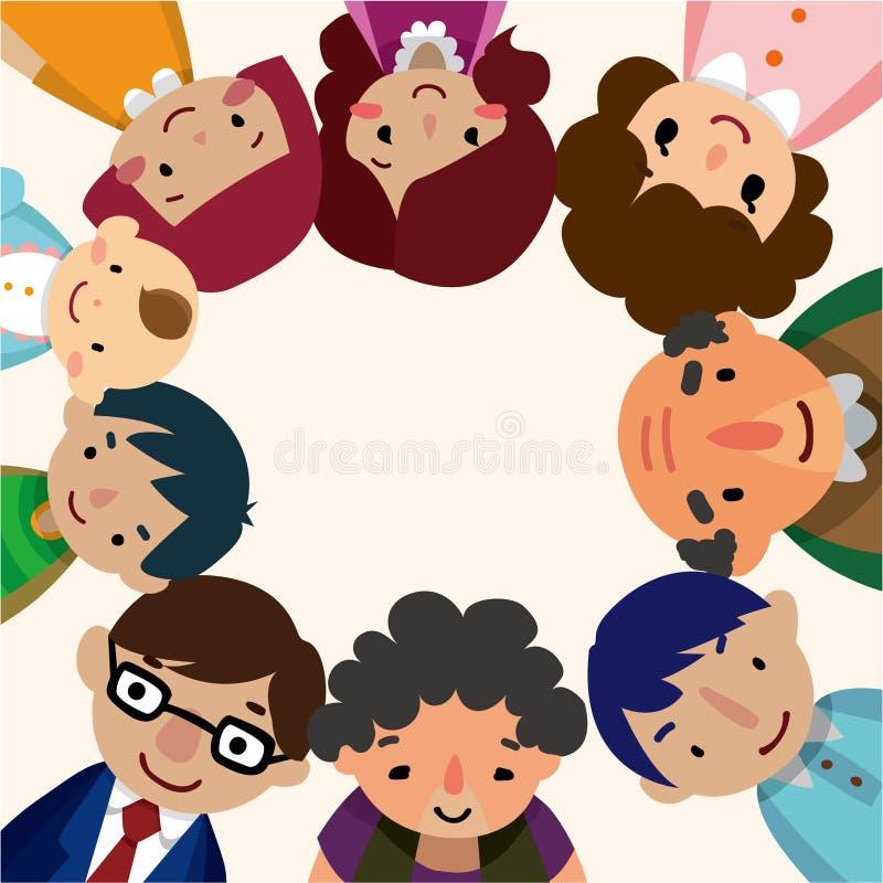 Cartão da família dos desenhos animados ilustração stock