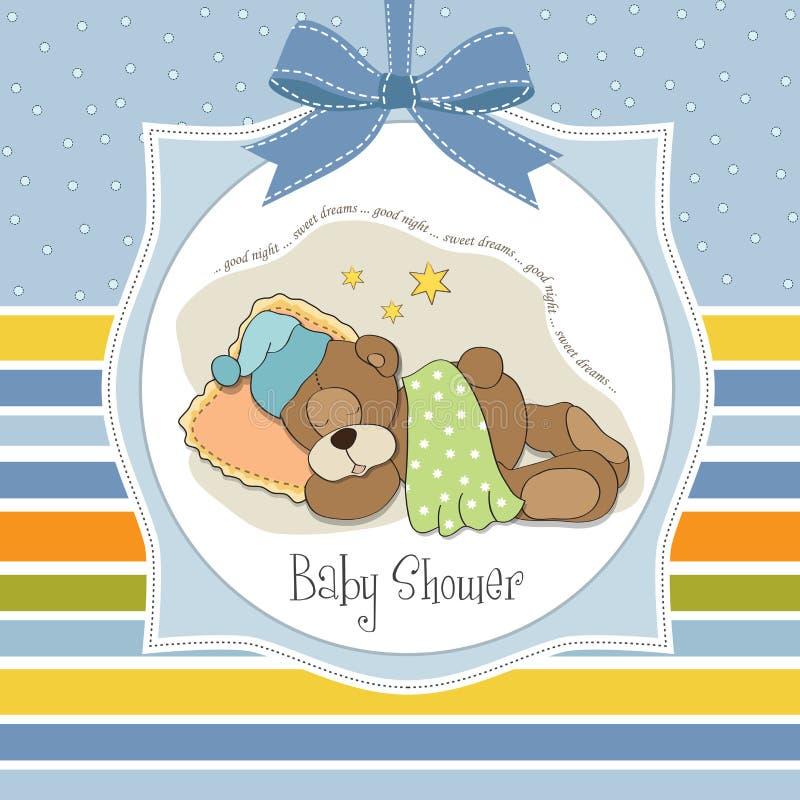 Cartão da festa do bebé com o urso de peluche do sono ilustração royalty free