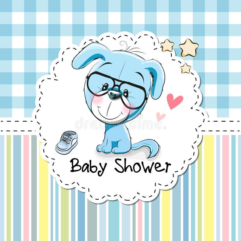Cartão da festa do bebê com cachorrinho ilustração do vetor