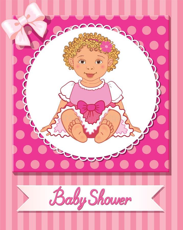 Cartão da festa do bebê com a menina agradável bonito no fundo cor-de-rosa ilustração royalty free