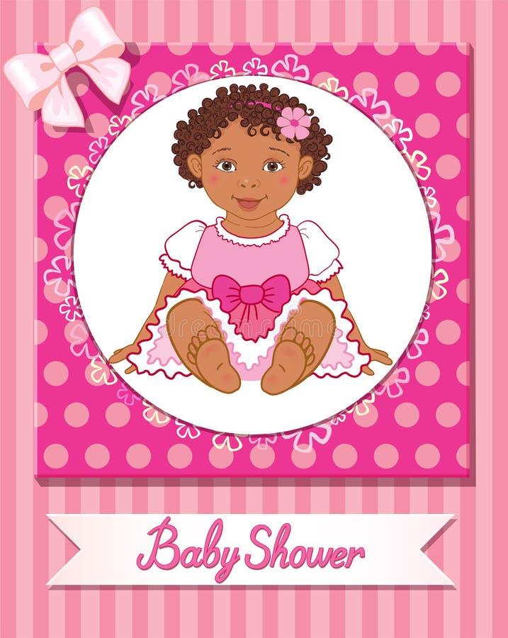 Cartão da festa do bebê com a menina bonito no fundo cor-de-rosa ilustração stock