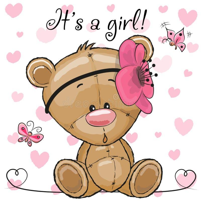 Cartão da festa do bebê com menina de Teddy Bear ilustração do vetor