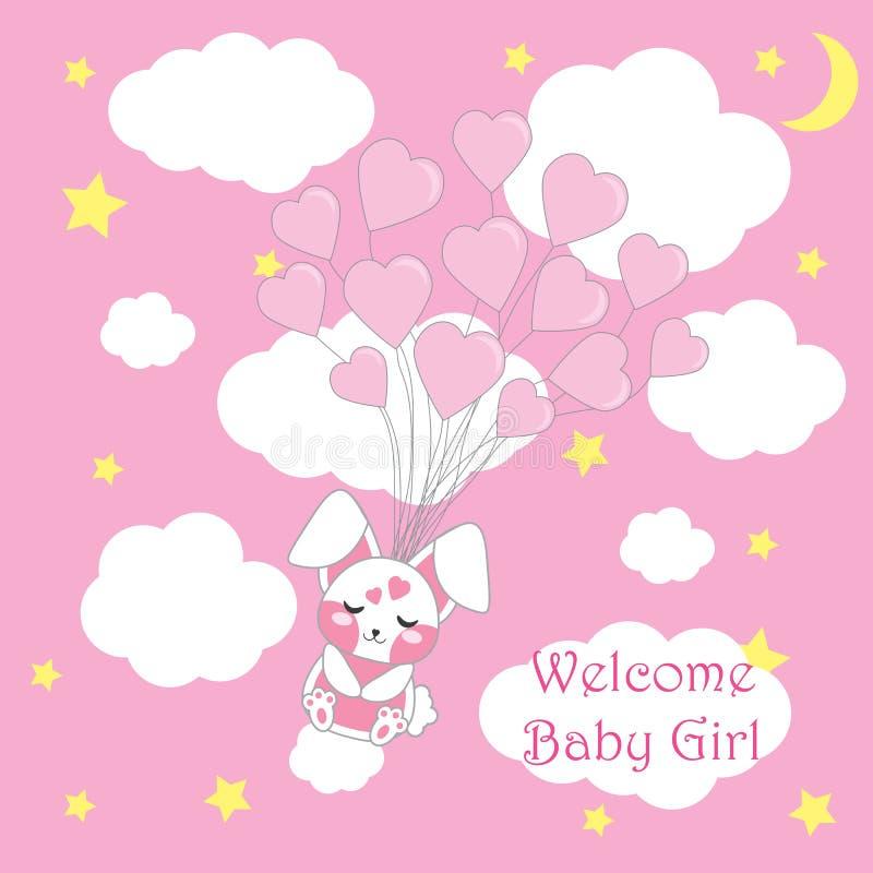 Cartão da festa do bebê com a mosca bonito do coelho do bebê com os balões do amor, os desenhos animados do vetor, os apropriados ilustração do vetor