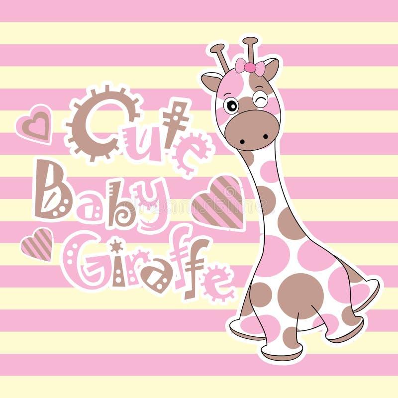 Cartão da festa do bebê com o girafa bonito do bebê no fundo das listras ilustração royalty free