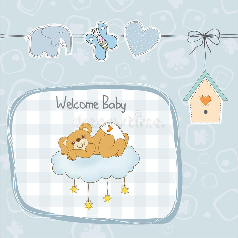 Cartão da festa do bebê com o urso de peluche sonolento ilustração do vetor
