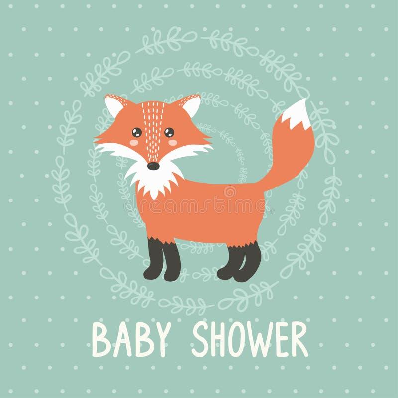 Cartão da festa do bebê com uma raposa bonito ilustração do vetor