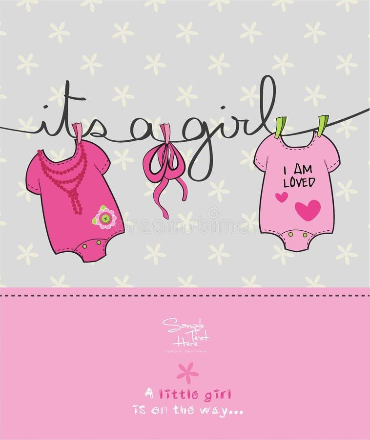 Cartão da festa do bebê da menina ilustração royalty free