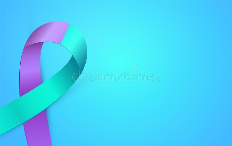 cartão da fita azul do roxo 3d ao mês da conscientização da prevenção do suicídio Cartaz dobro da fita da cor ilustração royalty free