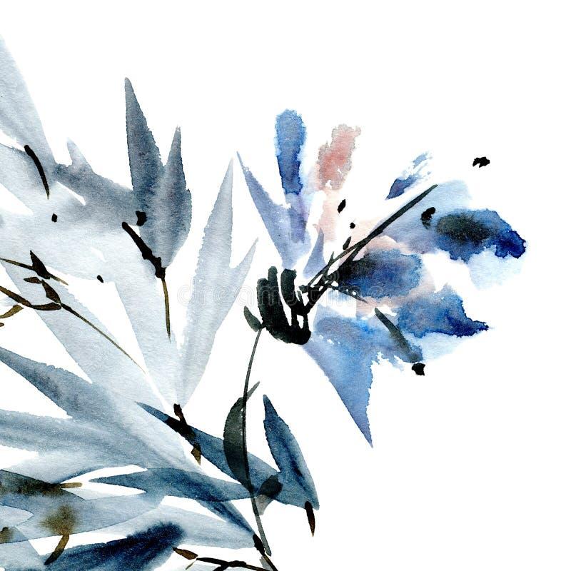Cartão da flor da aquarela ilustração royalty free