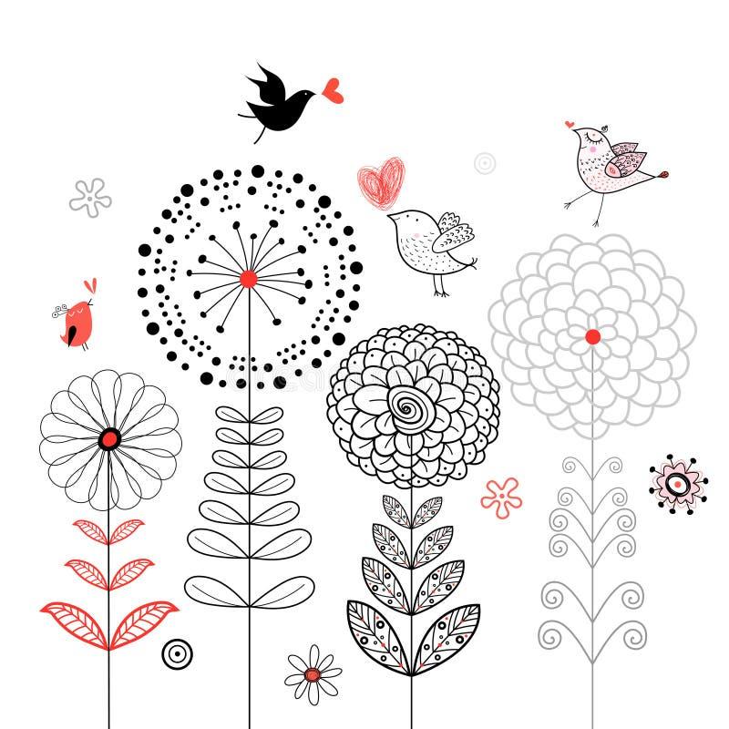 Cartão da flor com pássaros ilustração do vetor