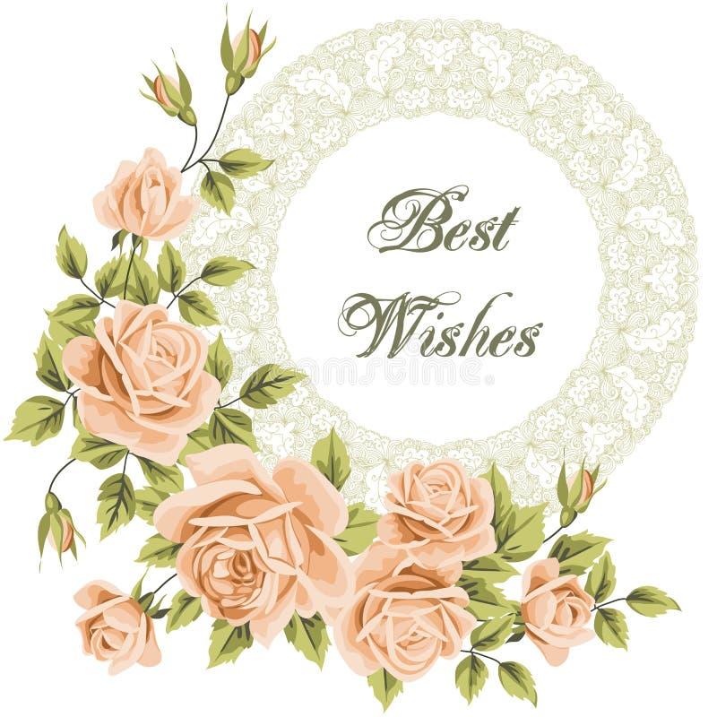 Cartão da flor do vintage com rosas ilustração royalty free