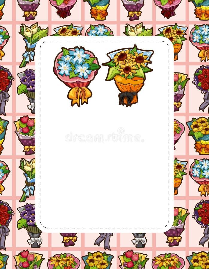 Cartão da flor dos desenhos animados ilustração stock