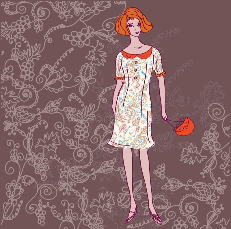 Cartão da forma com menina ilustração royalty free