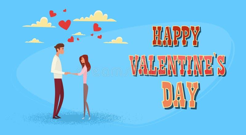 Cartão da forma do coração do amor de Valentine Day Holiday Couple Embrace ilustração stock