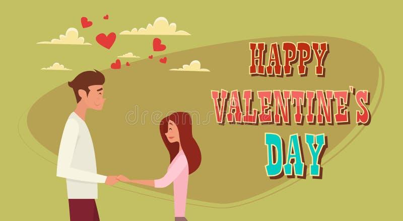 Cartão da forma do coração do amor de Valentine Day Holiday Couple Embrace ilustração royalty free