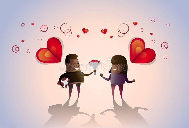 Cartão da forma do coração do amor de Valentine Day Holiday Couple Embrace ilustração do vetor