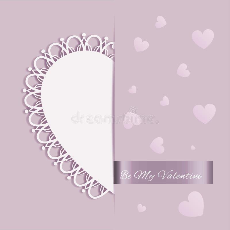 Cartão da forma do coração do dia de Valentim do St ilustração royalty free