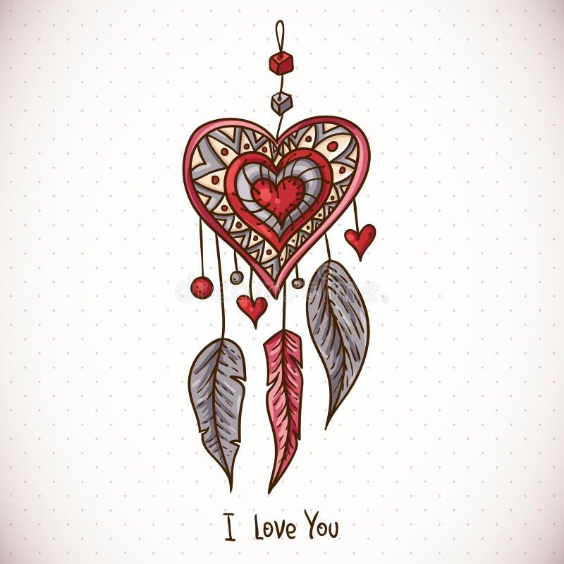Cartão da garatuja com coletor e coração ideais ilustração royalty free