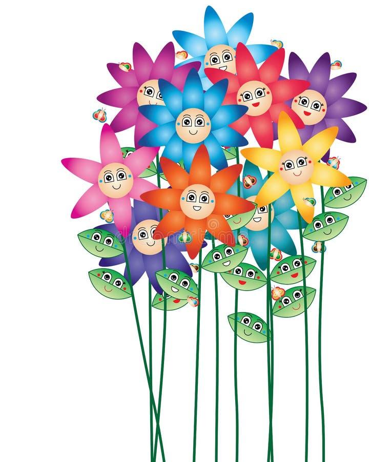Cartão da haste da flor de borboleta da folha dos desenhos animados ilustração royalty free