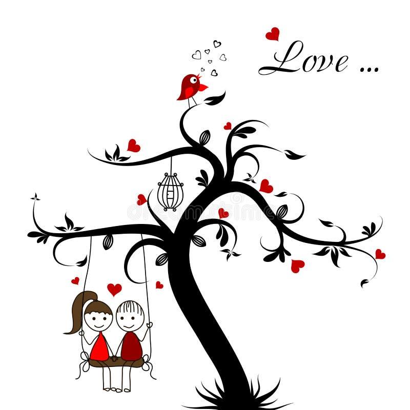 Cartão da história de amor, vetor ilustração stock