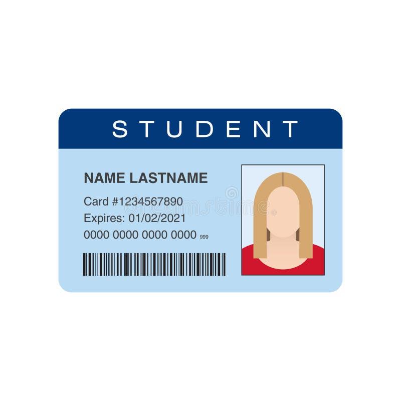 Cartão da identificação do estudante ilustração stock
