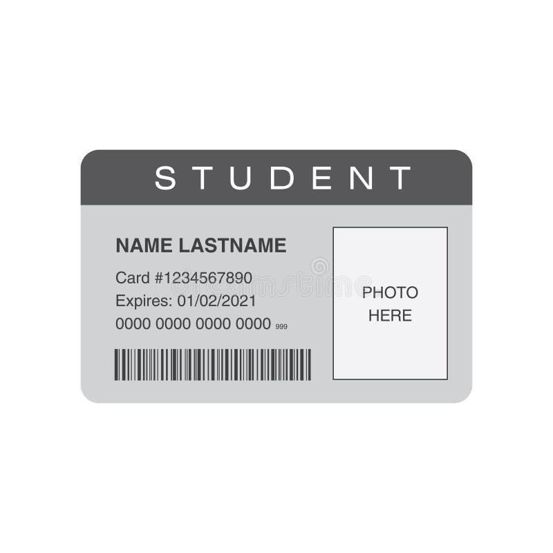 Cartão da identificação do estudante com espaço vazio para uma foto ilustração stock