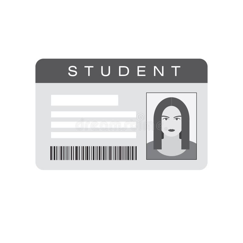 Cartão da identificação do estudante com retrato da menina ilustração do vetor