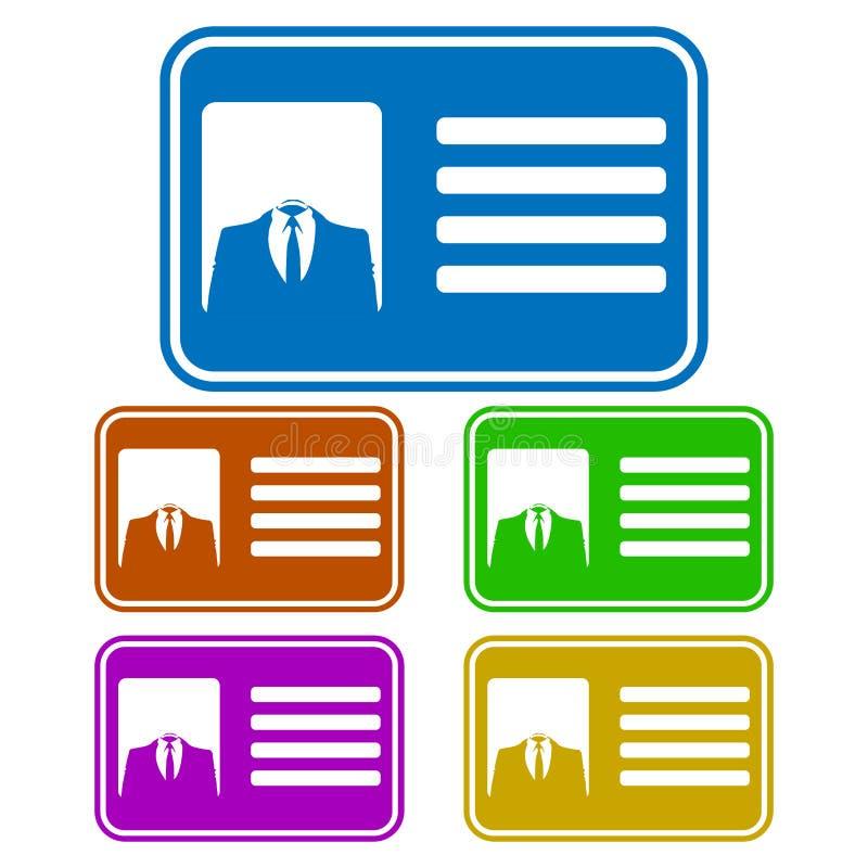 Cartão da identificação do homem de negócios/grupo anônimos lisos ícone do crachá Cinco variações Único projeto da cor ilustração royalty free