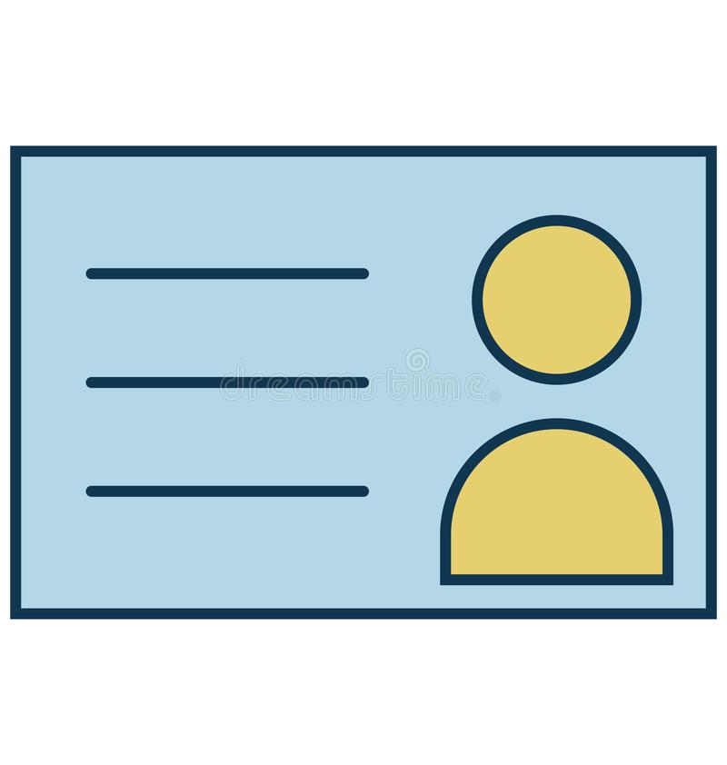 Cartão da identificação, estudante Isolated Vetora Icon para o partido e celebração ilustração stock