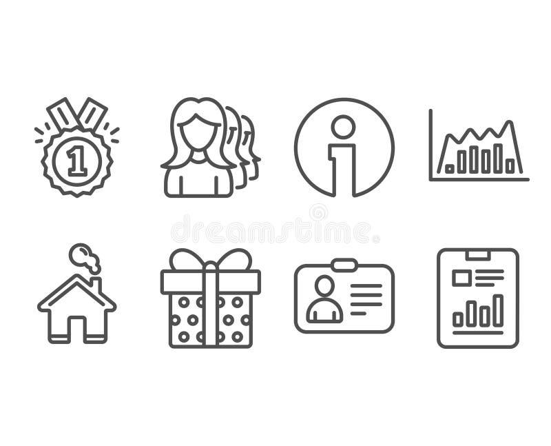 Cartão da identificação, gráfico de Infographic e ícones da caixa de presente Caçar cabeças das mulheres, original aprovado e do  ilustração royalty free