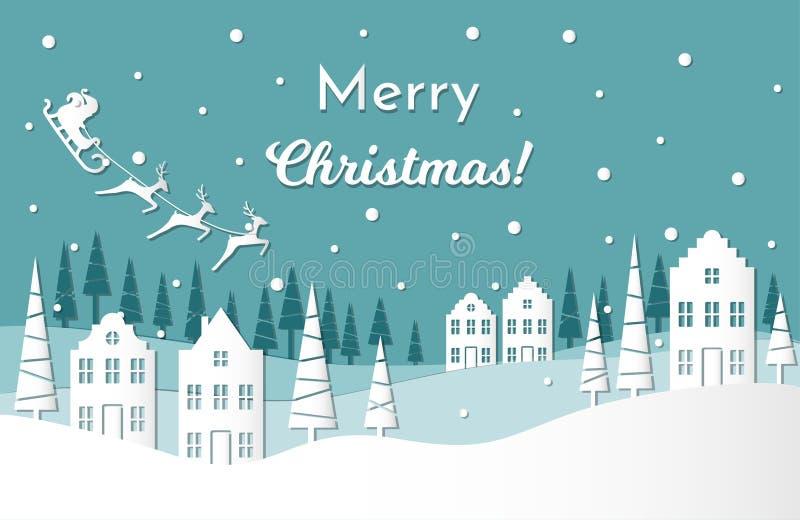 Cartão da ilustração do vetor por feriados de inverno Santa Claus com renas e trenó no céu noturno Feliz Natal ilustração royalty free