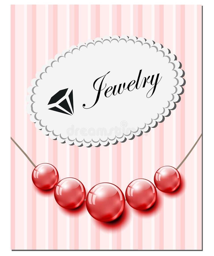 Cartão da joia com as pérolas de vidro vermelhas imagem de stock royalty free