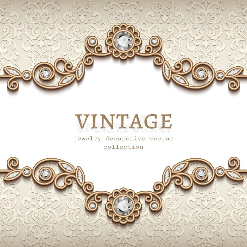 Cartão da joia do diamante do vintage, decoração do flourish ilustração stock