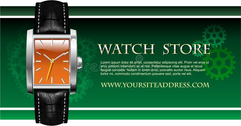 Cartão da loja do relógio de pulso dos homens análogos clássicos ilustração royalty free