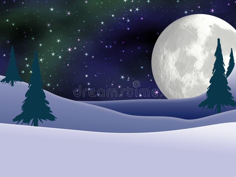 Cartão da Lua cheia e de Natal da aurora boreal ilustração royalty free