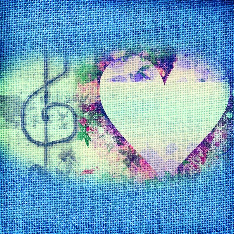 Cartão da música, coração e clef de triplo românticos ilustração stock
