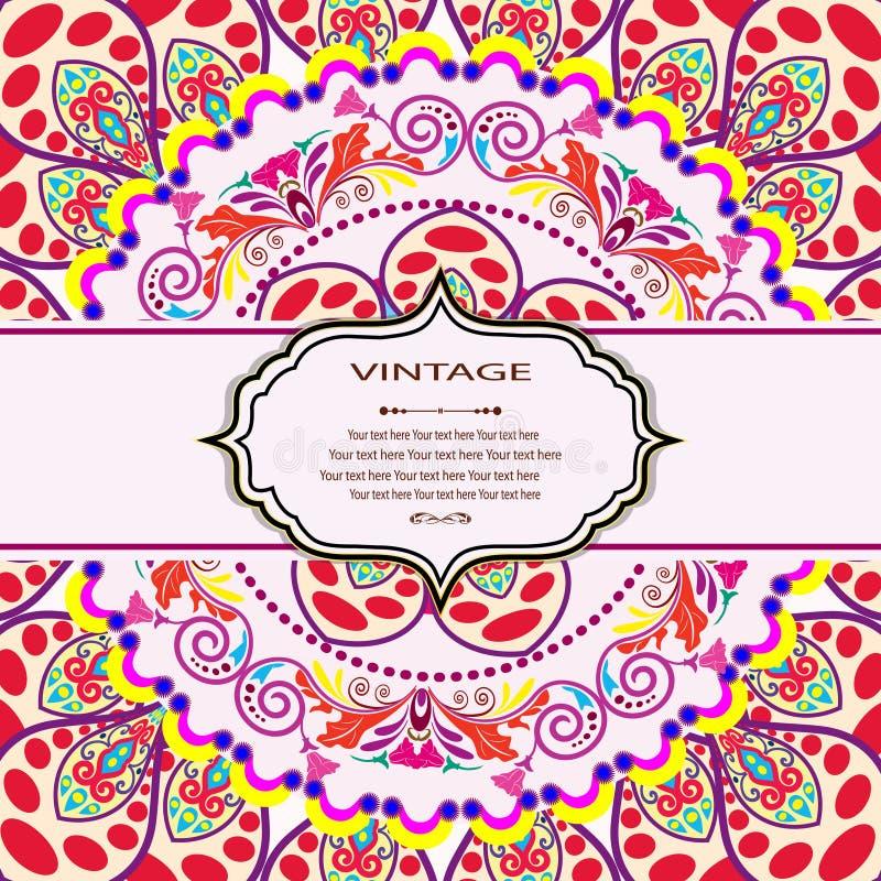 Cartão da mandala do convite ilustração do vetor