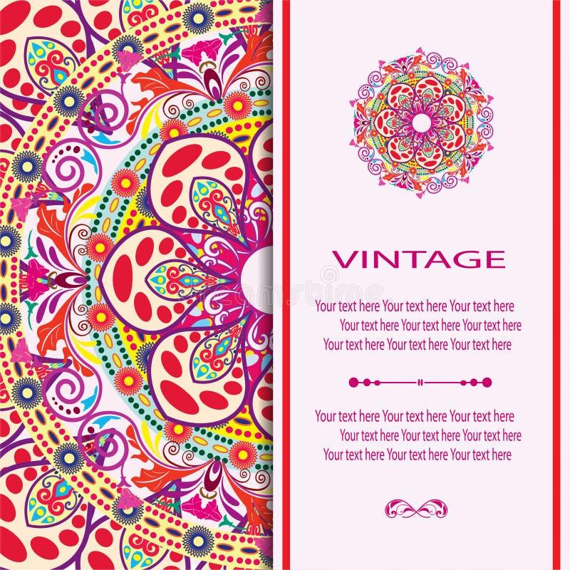 Cartão da mandala do convite ilustração royalty free