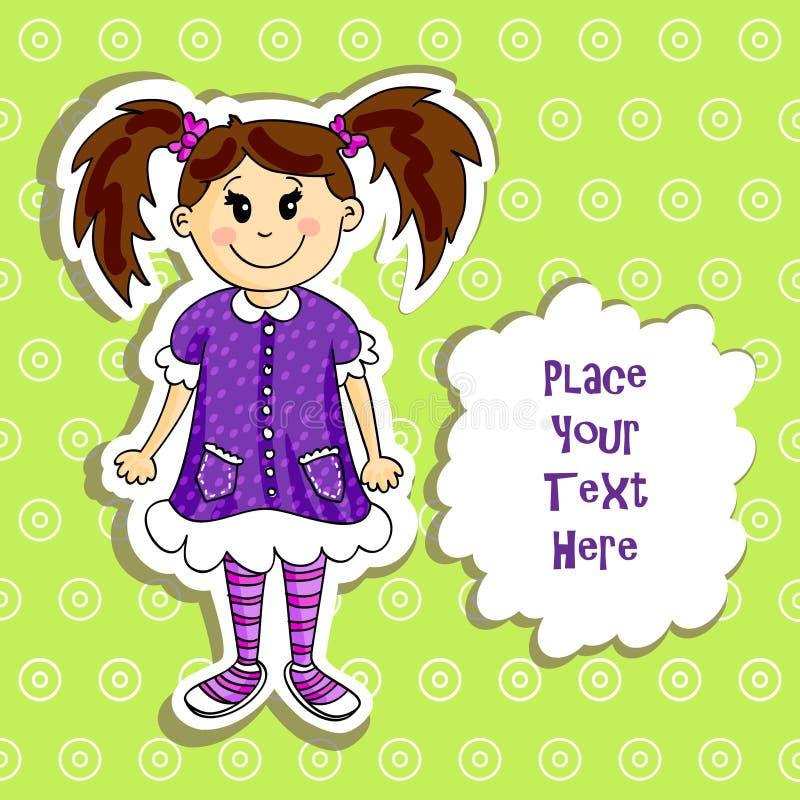 Cartão da menina ilustração stock