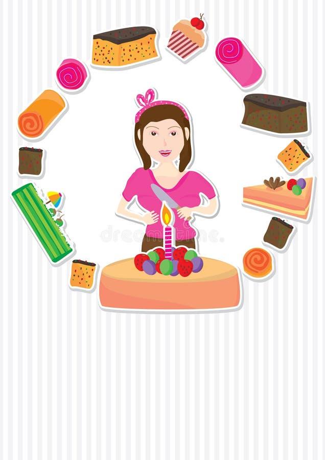 Cartão da menina do bolo ilustração do vetor