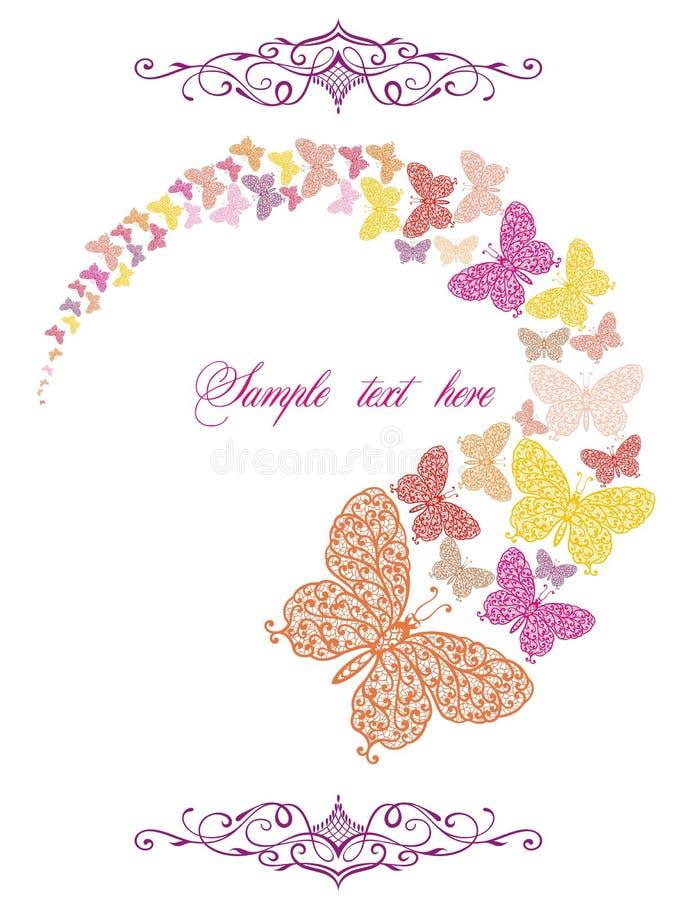 Cartão da mola com borboletas ilustração stock